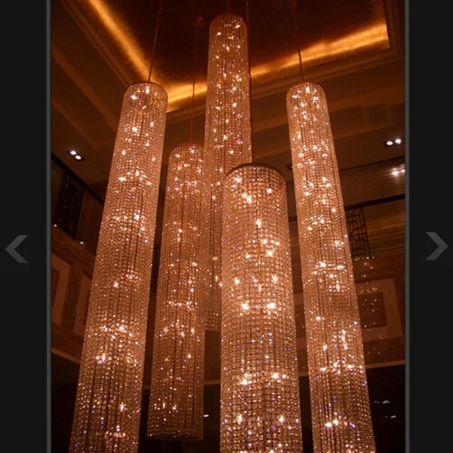 Large Long Crystal Chandelier Light lampada led Fixtures Hotel ...