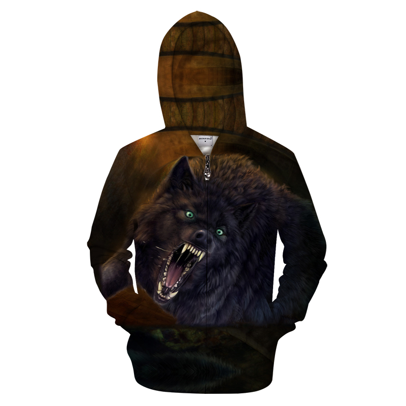 2018 latest 3D printing Christmas Halloween cool wolf theme pullover hoodie women's / men's casual loose large size sneakers wom