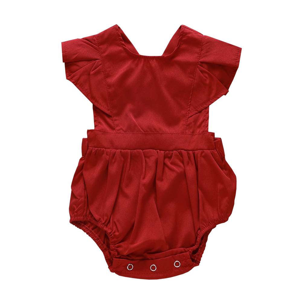 2018 Flutter Sleeve Baby Girl Onesie Baby Girl Bodysuits Little Girl Clothes Baby Clothes Summer Plain Bodysuits Babies Fashion