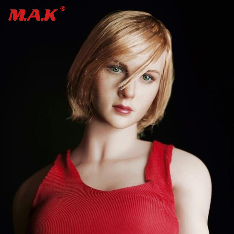 1/6 scale blond short hair female lovely girl head sculpt european head carved model for 12 inches action figure body 1 6 scale european male head sculpt model headplay without neck for 12 action figure body figure