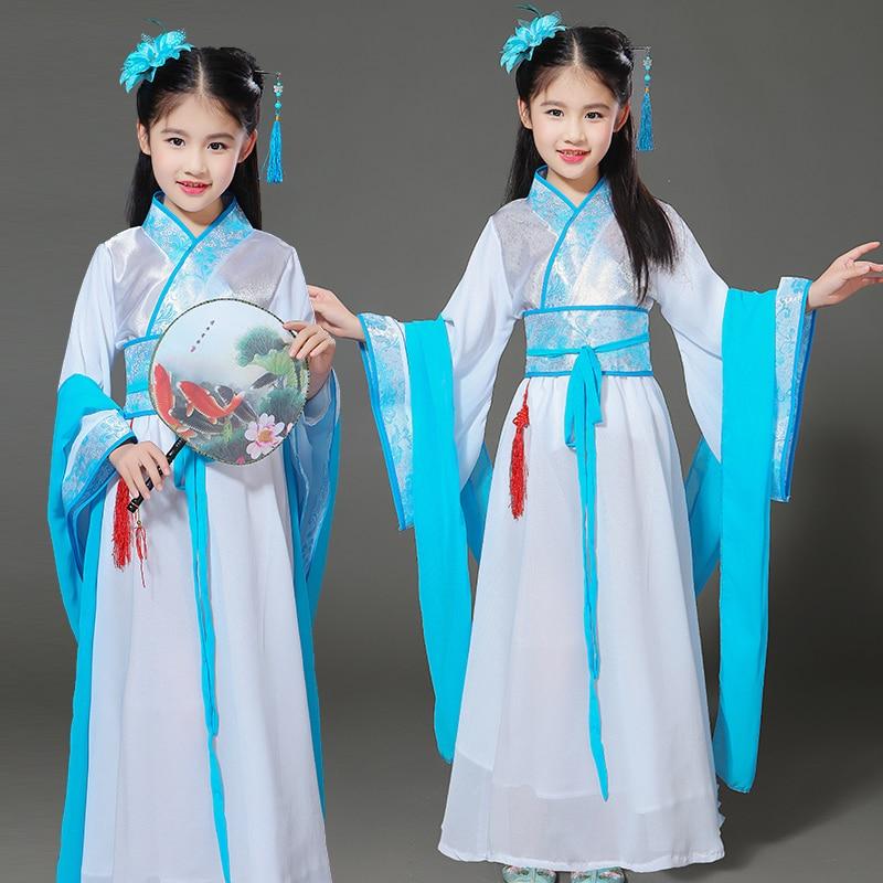 girls chinese traditional hanfu dress ancient chinese opera tang han ming costume dynasty child clothing folk dance children kid