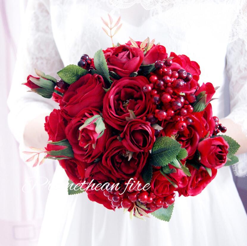 AYiCuthia 2018 Photos réelles Bouquet de mariage fleur Rose rouge beau Bouquet Birdal accessoires de mariage S145