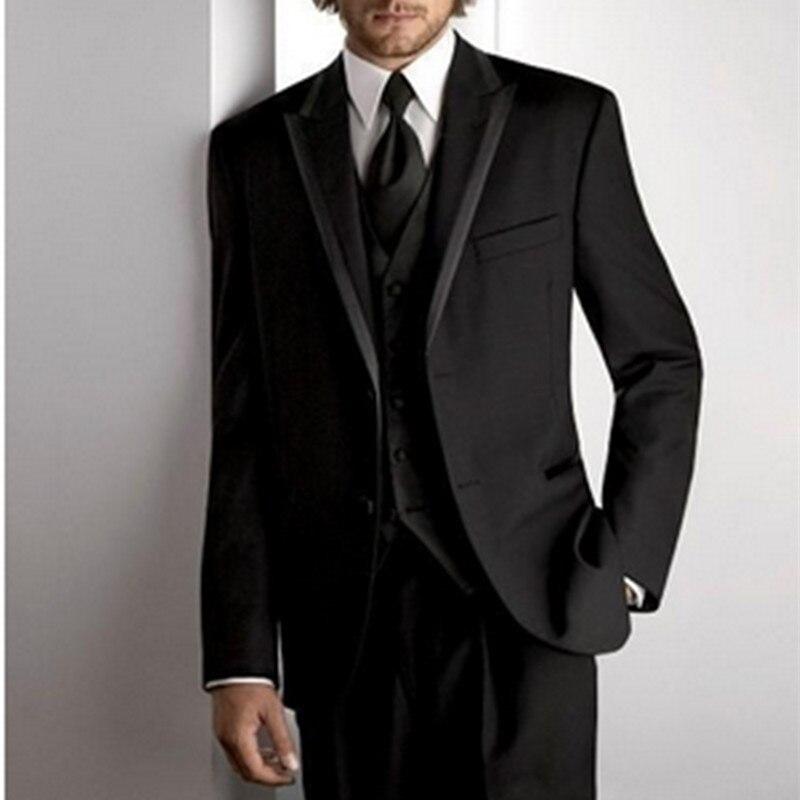 Noenname_Null 2019 Customized Black Design Groom Tuxedos Men Wedding Party Suits Business Groomsman Bridegroom Suit Jacket+Pants
