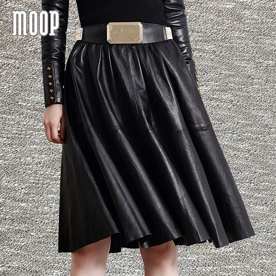 Black genuine leather skirts women flare skirt faldas jupe ...