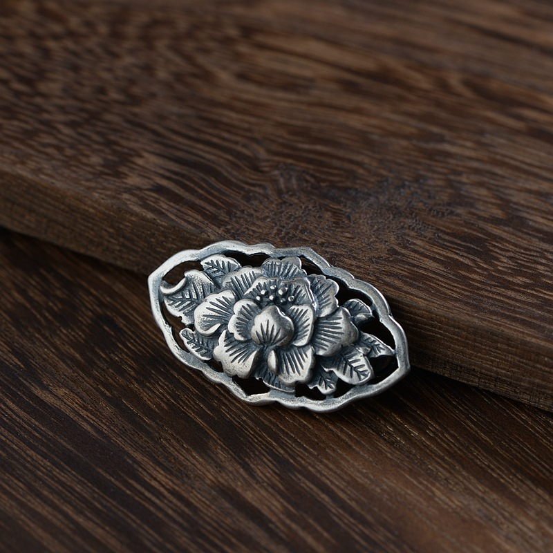 Thai Silver Peony Flower Brooch Flower Silver Brooches Flowers Butterfly Chinese Style Collar Pins Luxury Jewelry SBH0007
