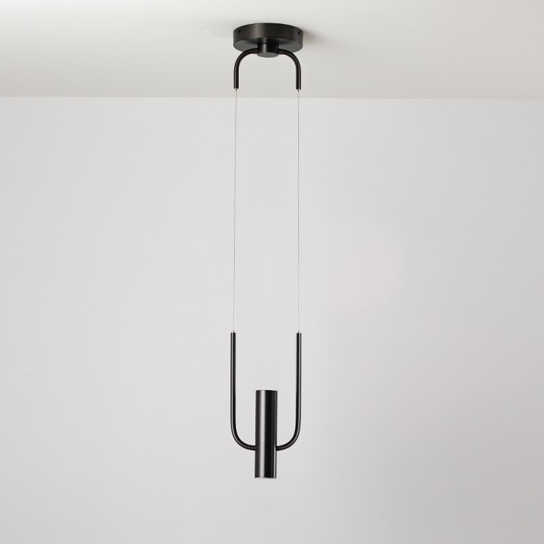 Modern black golden LED pendant lights Nordic dining room fixtures study room hanging lamp Iron bedroom suspension luminaire in Pendant Lights from Lights Lighting