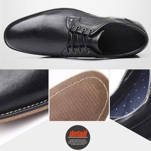 Image 4 - YIGER chaussures habillées pour hommes, nouvelle collection, chaussures formelles, à lacets, grande taille, en cuir véritable, augmentation, chaussures pour hommes, 0301