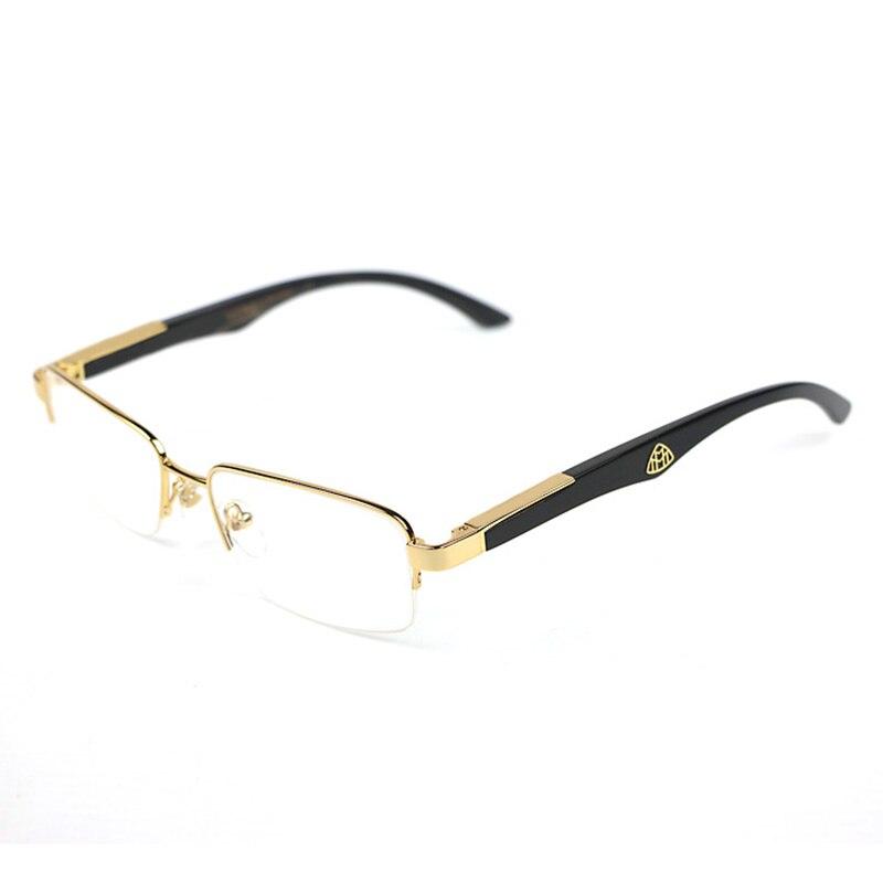 Cadre de lunettes en bois hommes demi-jante en bois cadres en verre prescription lunettes claires marque designer lunettes en corne de buffle M068