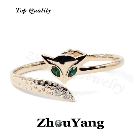 Top Quality ZYB040 Charm Fox  Rose Gold Plated Bangle Jewelry   Austrian Crystals Wholesale