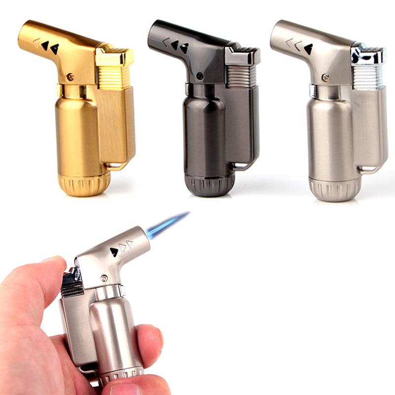 Outdoor Mini Butane Jet Lighter Turbo Torch Lighter Fire Windproof Spray Gun Metal Lighter (NO GAS) Cigarette Accessories