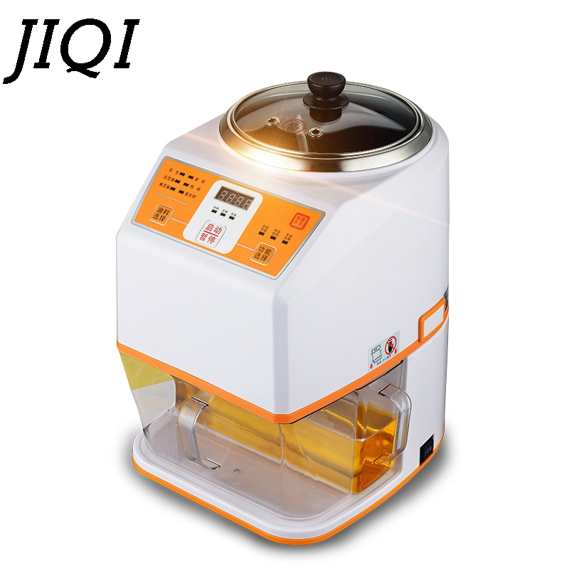 JIQI MINI Nuts Seeds Oil Hot Press Machine Seed Peanut Fried Oil Presser Automatic Electric Oil Expeller Extractor Fryer EU plug