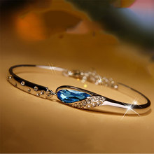 KUNIU Water Drop Vintage Silver Bracelet Crystal Bracelets Jewelry Accesories Exquisite Women Ladies Female Trendy Handmade(China)