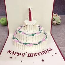 1 шт подарок на день рождения торт открытка всплывающие 3D Поздравительные карты с конвертом открытка приглашение оригами ручной работы юбилей