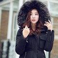 Mulheres Jaqueta de inverno da Marca Com Capuz De Pele 2016 da mulher Para Baixo Casacos de Algodão e Casacos Plus Size parkas para mulheres Casaco de inverno Parka YG