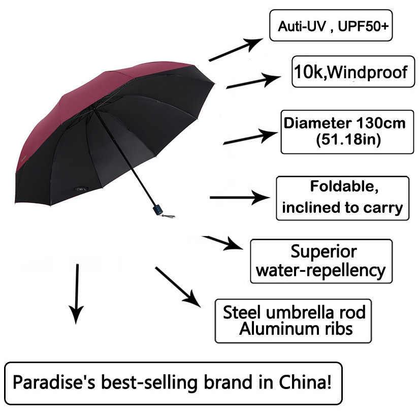 Di marca Anti-uv Grande Ombrello Donne Pioggia Pieghevole Antivento Sole di Grandi Dimensioni Degli Uomini di Hi-Q Corporation Ombrelli Parasole Femminile Paraguas cinese
