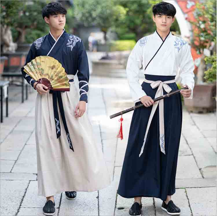 Male Hanfu Ancient Chinese Traditional Clothing Navy Adult Men Halloween Carnival COS Costume Fancy Dress For Men Plus Size 4XL