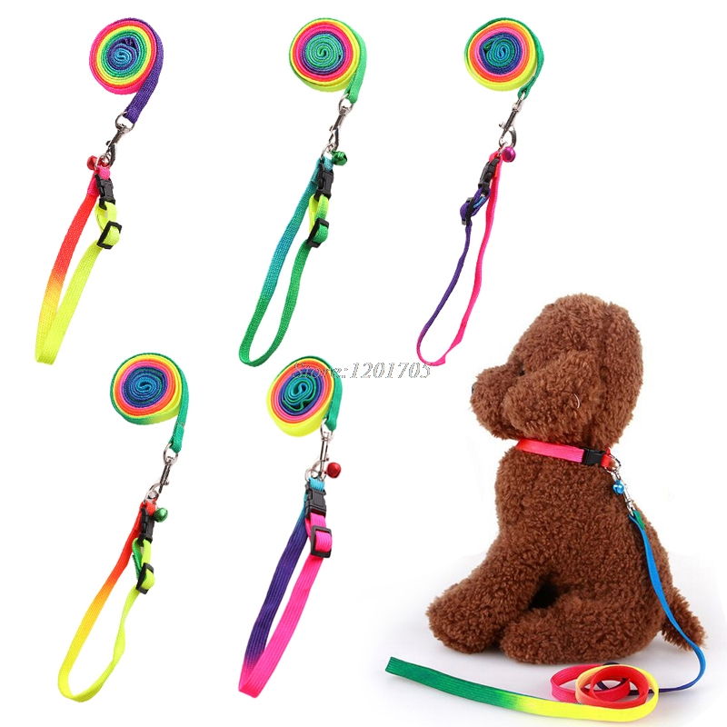 1pc Rainbow Color Pet Small Dog Puppy Collar Leash Soft Walking Harness Lead JUN13
