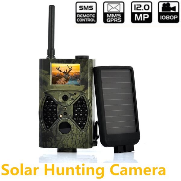 Solar powered Panel Hunting trail camera MMS 940NM IR Infrared Hunting Camera Digital Scouting Trail Video Camera hc300m scouting hunting camera gprs mms digital 940nm black infrared trail camera solar panel battery
