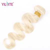 YILITE Indian Body wave Human Hair Weave, Blonde Color #60 Platinum Blonde Non remy Hair Bundles 12inch 22inch 1 Bundle