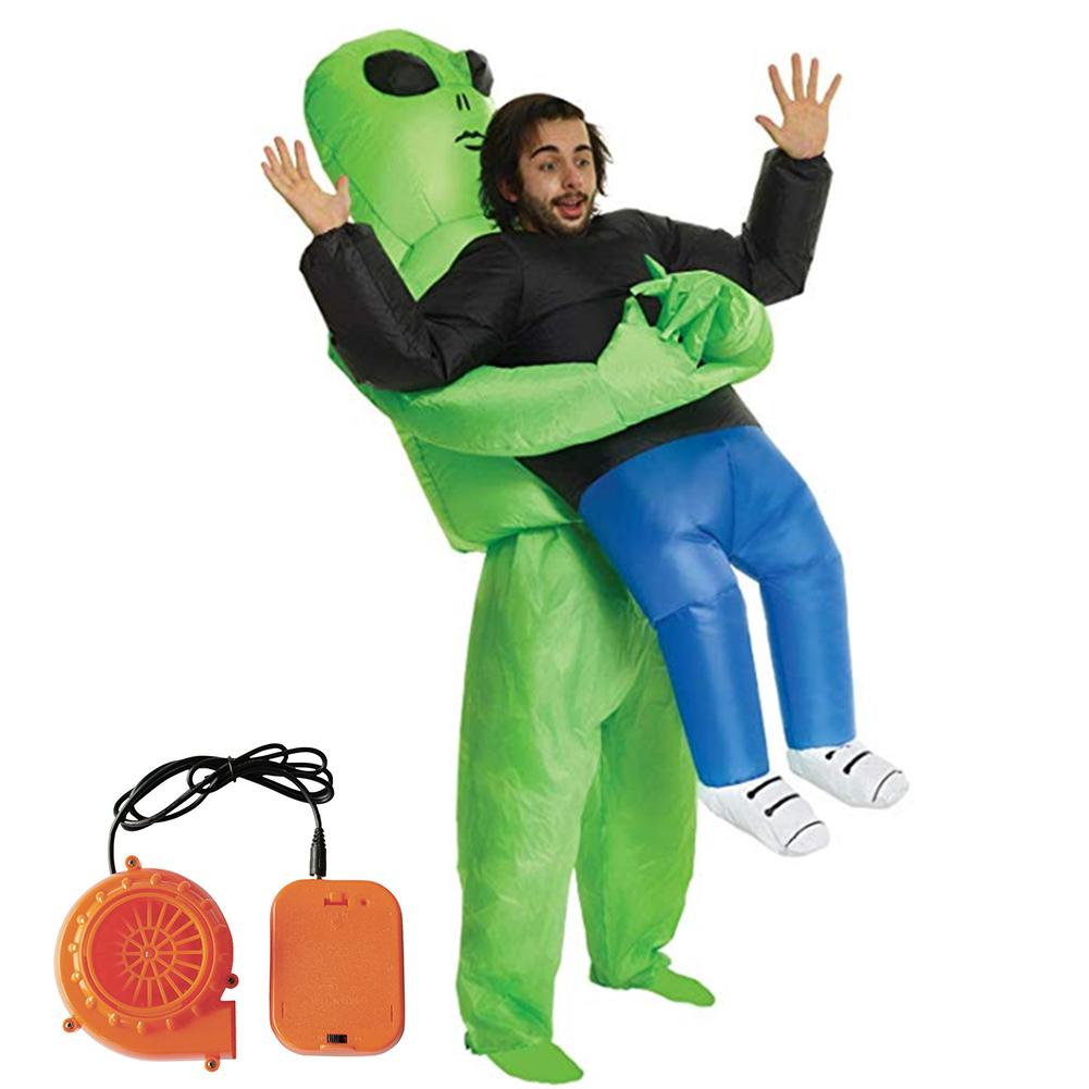 Inflatable Costume Green Alien Adult Funny Blow Up Suit Party Fancy Dress Unisex Costume Halloween Costume alien blow up costume
