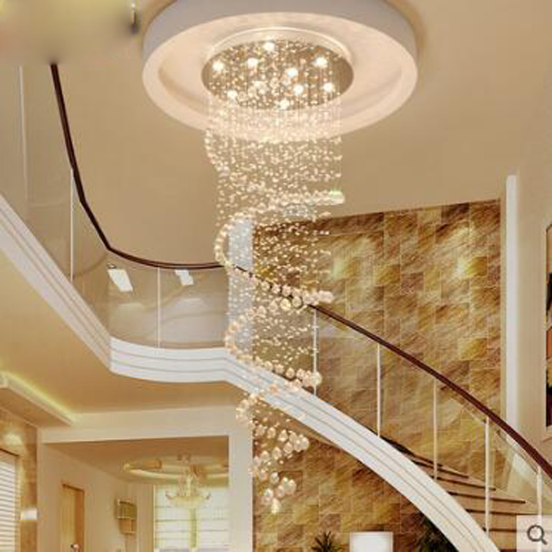 Crystal chandelier round chandelier in a rotating villa penthouse staircase chandelier Staircase chandelier in a living room LEDCrystal chandelier round chandelier in a rotating villa penthouse staircase chandelier Staircase chandelier in a living room LED