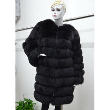 Real fur fox coat jacket women's long O-neck nine quarter full pelt  black brown color noble high quality