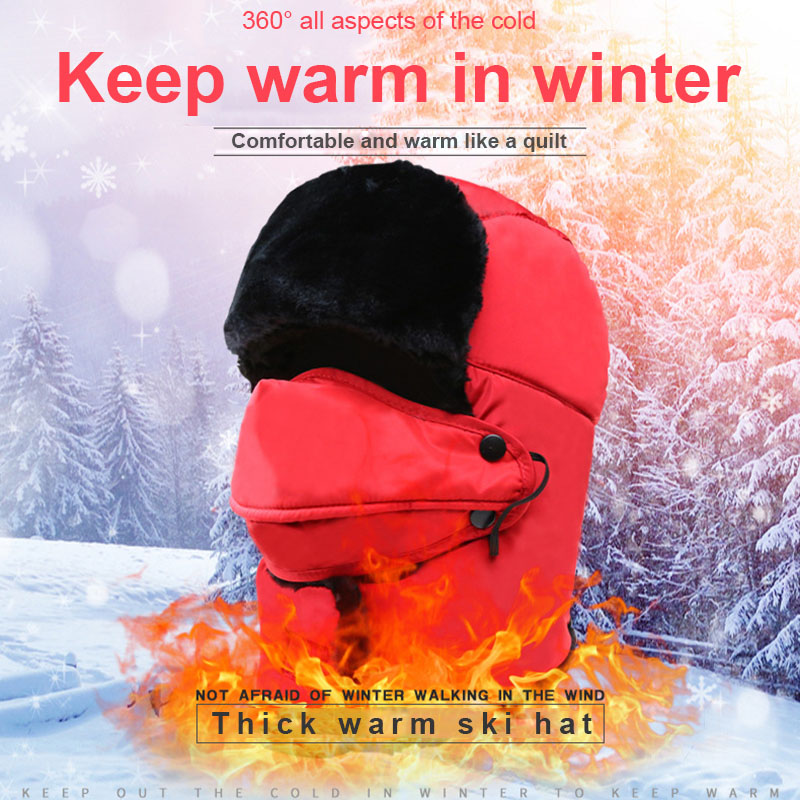 Winter Windproof Warm Hat Trapper Ushanka Hat Beanie Warm Hats for Outdoor Skiing Sports -MX8
