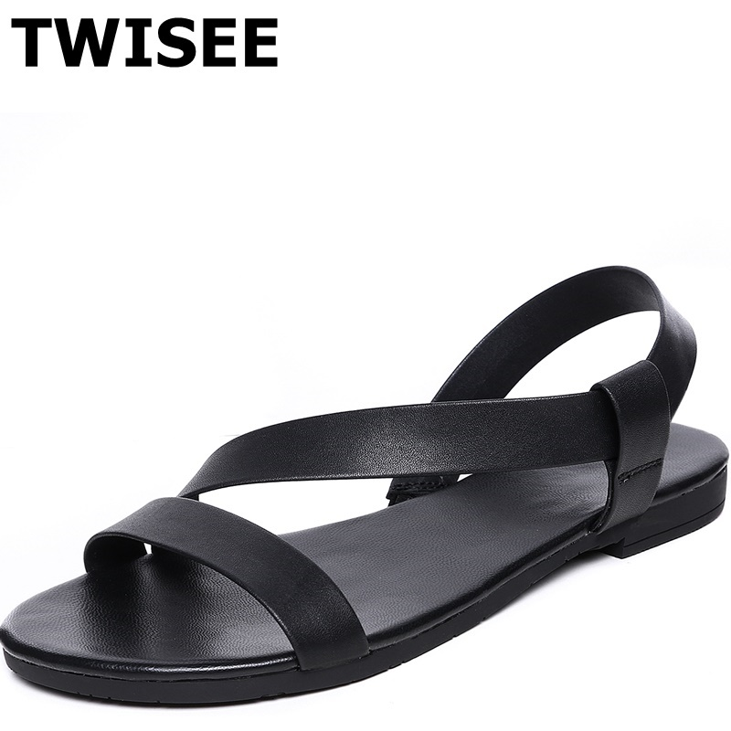ФОТО TWISEE Rubber low heels 1.5 cm woman party shoes Genuine Leather summer sandals Beautiful peep toe  Ladies shoes woman sandals