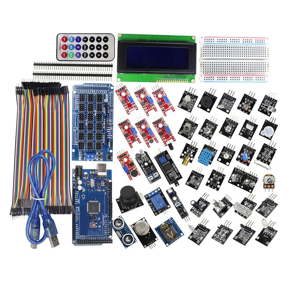 Мега 2560 R3 Starter Kit с 40 Сенсор модуль Serial I2C ЖК-дисплей Дисплей газа детектор звука Сенсор для Arduino DIY комплект