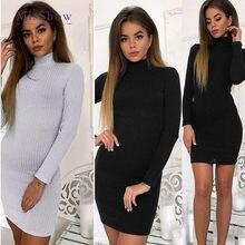 e3d80db096f Women Autumn Cotton Sweater Dress Long Turtleneck Sweater Long Knitted Dress  Bodycon Pullover Female Long Sleeve Robe Pull Femme