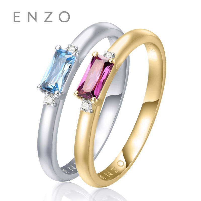 ENZO Square ring 0.25CT 1PC Brazilian Garnet/Blue Topaz With Diamond Rings 9K Yellow/White Gold Rings For Women's wedding ring костюм для девочки batik толстовка брюки цвет розовый синий ds0152 4 9 размер 110