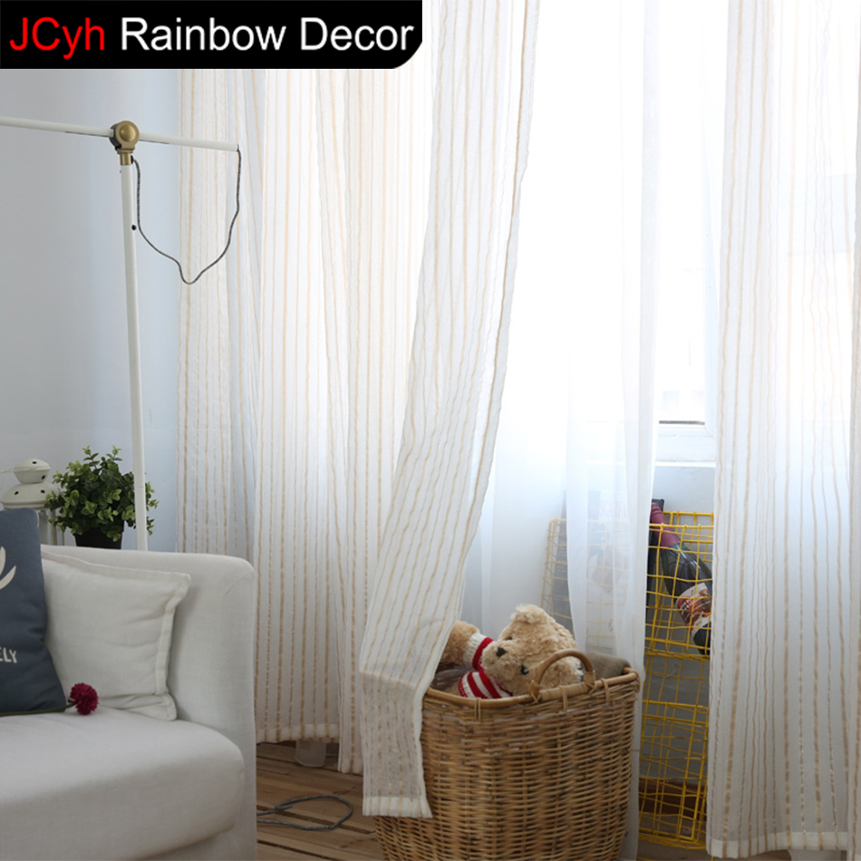 Japanese Curtains For Living Room Blind Voile Window Blackout Curtains  Bedroom Stripe White Tulle Curtains Blackout Sheer Drapes In Curtains From  Home ...