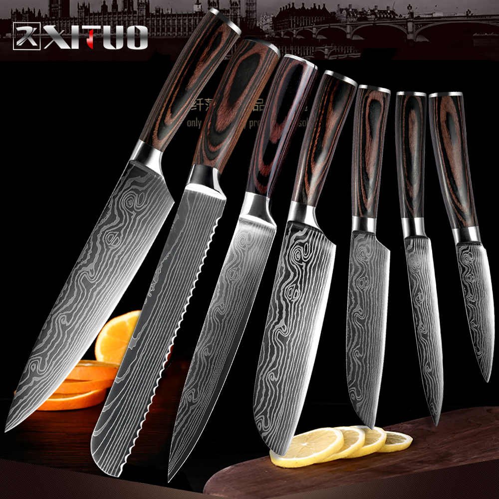XITUO Kitchen Chef Knives Sharp slicing Cleaver Utility Santoku Japanese High Carbon Stainless Steel Home kitchen cooking tools