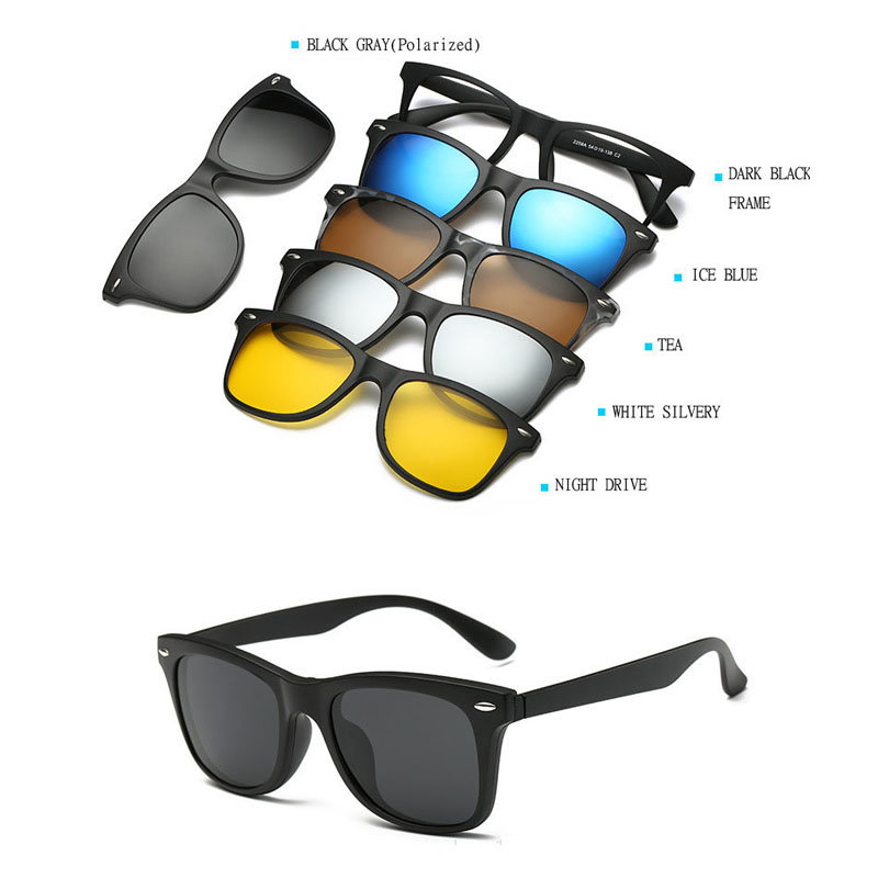 TR Eyeglass Frames with 5 Clip On Sunglasses Men Eyeglass Magnetic ...