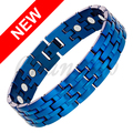 Channah 2017 Men Jewelry 17pcs Magnets Bangle Magnetic Free Shipping Healing Stainless Steel Bracelet Deep Blue Jewellery Charm