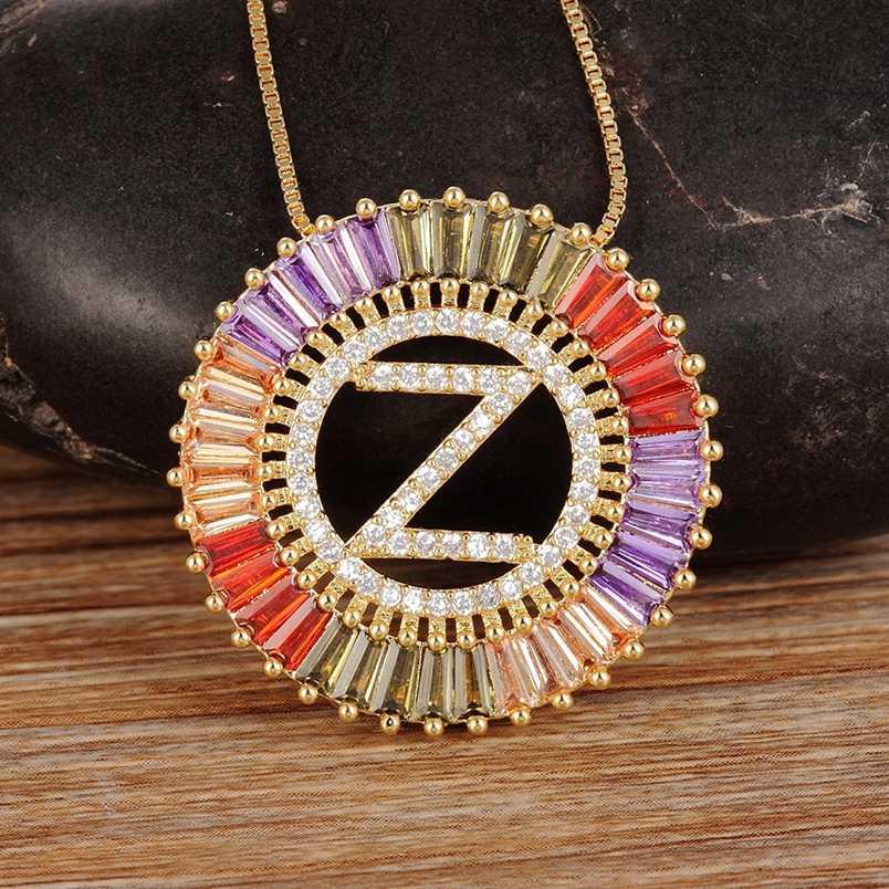 הגעה חדשה זהב צבע מיקרו פייב קשת CZ מעוקב Zirconia A-Z ראשי תיבות מכתב תליון שרשראות לנשים בנות תכשיטים