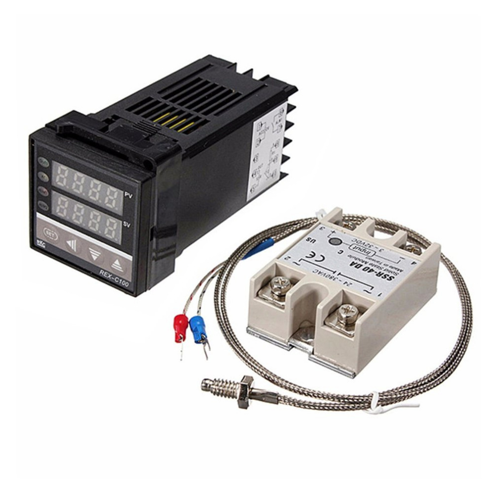 digital 220v pid rex c100 temperature controller with max 40a ssr and k thermocouple pid [ 1000 x 1000 Pixel ]