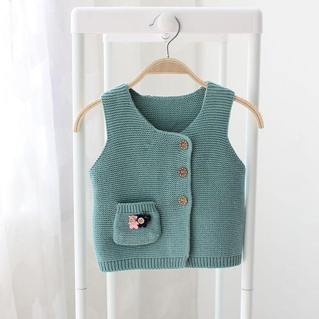 2017 primavera y otoño nuevas niñas suéter suéter chaleco de bolsillo de dibujos animados bebé oso suéter del bebé del chaleco