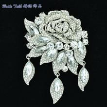 Showy Rhinestone Crystal Wedding Leaf Brooches Bouquet For Bridal Jewelry Clear Rose Flower Brooch Pins Broach Accessories 6451