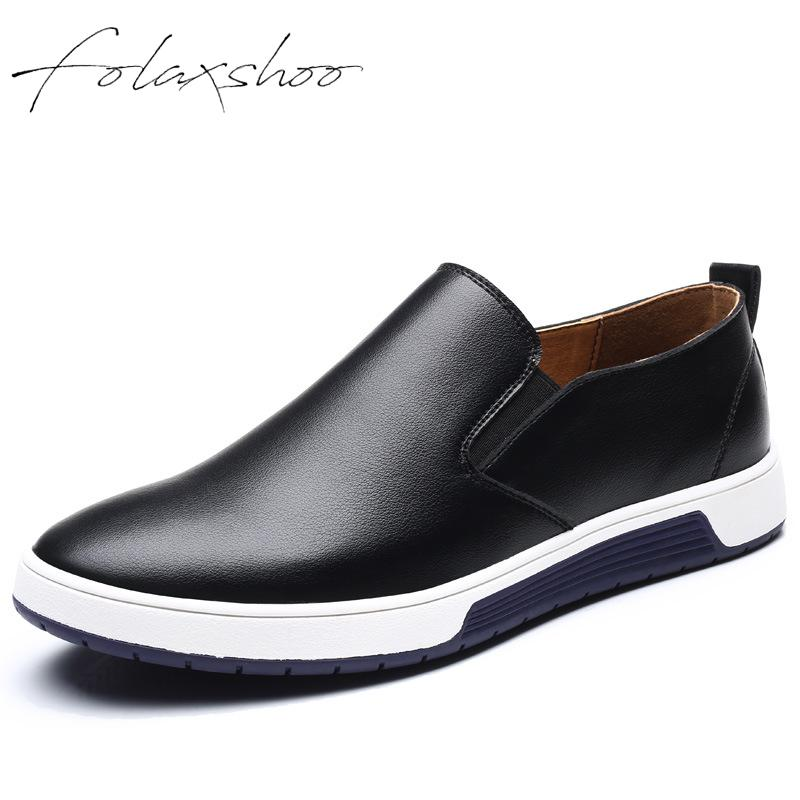 Folaxshoo Genuine Leather Casual Driving Rubber Shoes Lightweight Flats Men Shoes Large Size Slip-on Loafers Spring/autumn Man's agsan unisex genuine leather loafers men large size 10 10 5 11 slip on business shoes spring classic driving shoes black khaki
