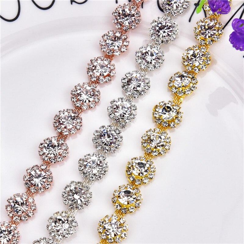 New 1 yard AAA-Grade Flower Crystal Clear Round Glass Rhinestone Cup Chain  Silver Base 012514214aaa