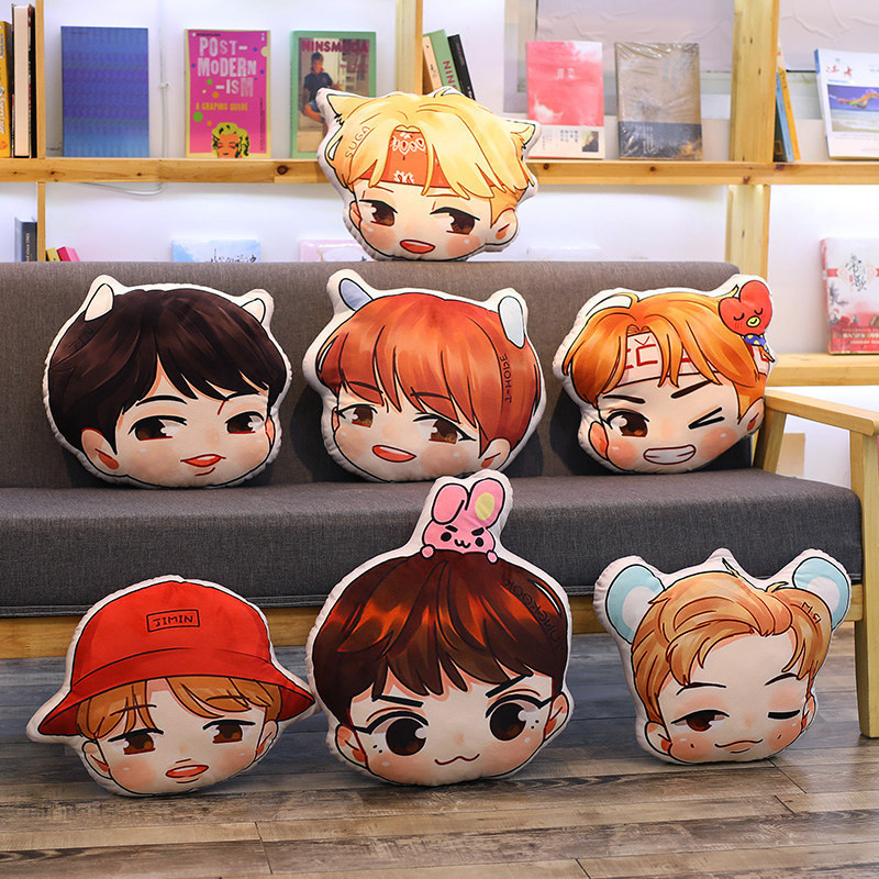 1Pc 40Cm Anime KPOP BTS Plush Pillow Cute Bangtan Doll Hiphop Monster JIMIN V JUNGKOOK JIN Stuffed Soft Cushion Toy Collection In Movies TV From Toys
