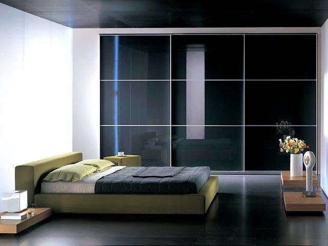 Built in wardrobe with sliding glass door