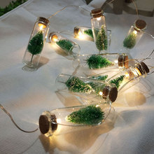 1M 10Leds Vintage LED String Light Clear Glass Wish Bottle Copper Wire Garland For Christmas Tree Home Garden Party Decoration