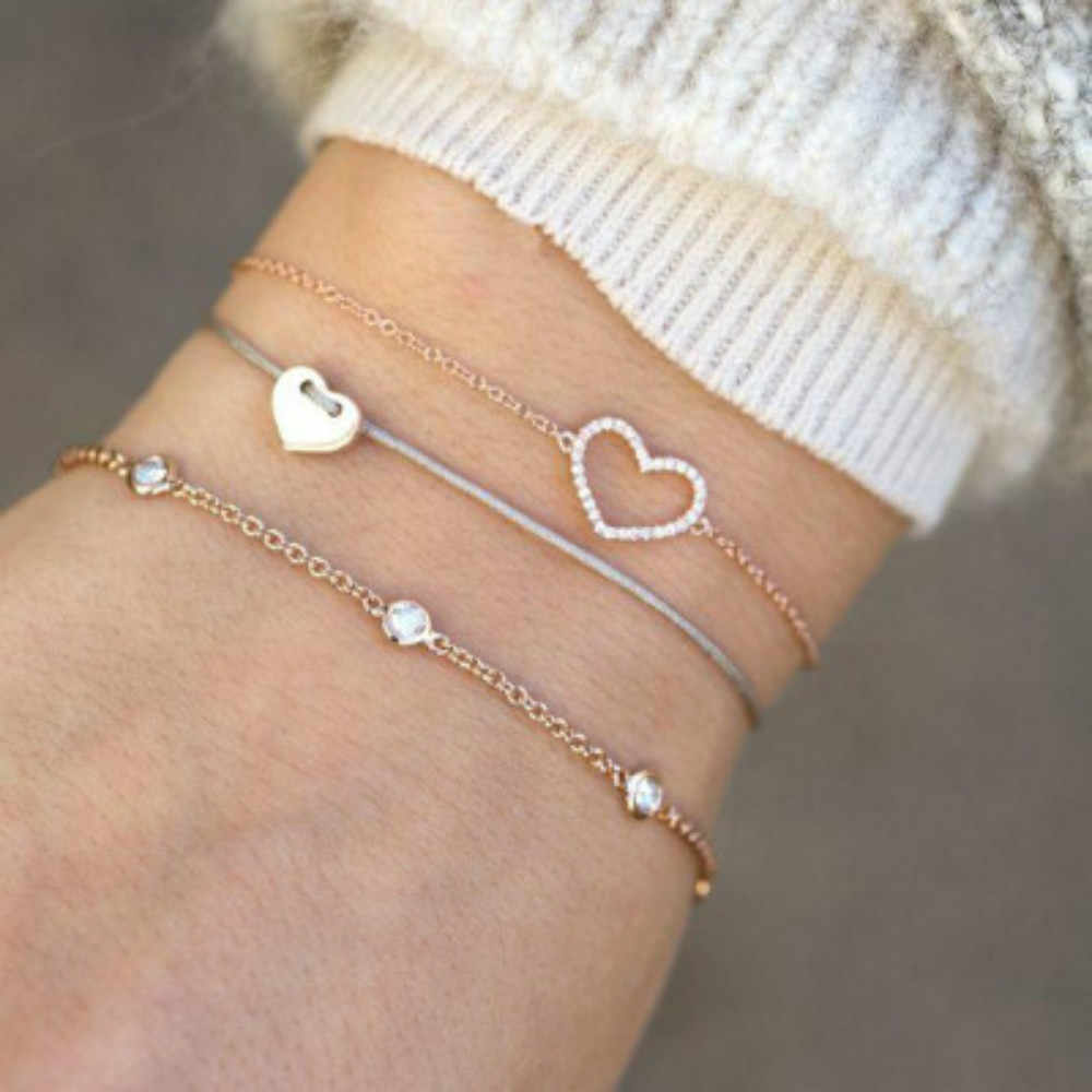 Gold color Women Fashion Punk Bracelet Simple Trendy heart Metal Chain Bracelets Bohemian Retro Jewelry Accessories Bangles