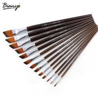 Bianyo 13 Pcs Angular Shaped Watercolor Brush Nylon Hair Brush Artists Paint For School Acrylic Gouache