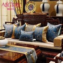 Avigers estilo chino clásico de lujo cojín fundas decorativas para almohadas. Oro azul Floral almohada casos