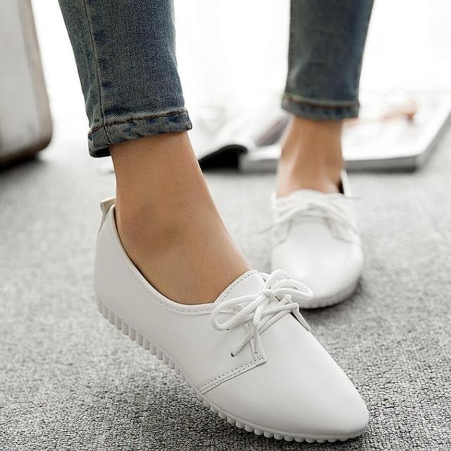 2019 new retro Korean version with small white shoes pointed single shoes peas flat with single shoes flat shoes Zapatos Mujer