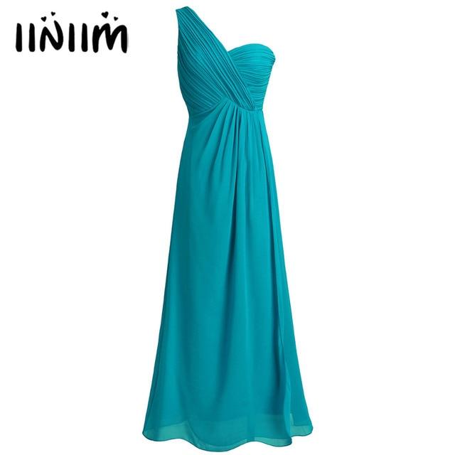 Women Ladies Chiffon One-shoulder Split Slit Wedding Formal Dress Long  Evening First Communion Prom 438c675d6a9e
