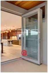 Домашний экономичный алюминиевый балкон Складная стеклянная дверь, алюминиевый из двойного стекла раздвижные складные двери для входа